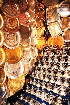 Bronze handwork in Marrakech, Morocco.