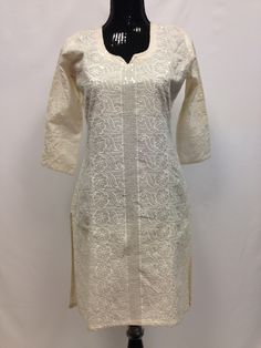 Cotton Kurta with Sequence Embroidery - Cream