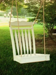 Recycle an old chair as a swing. When you feel tired and want to relax yourself in your yard, having a swing is a good choice.