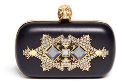 Alexander McQueen Crystal Embellished Skull Box Clutch #clutch  #handbag  www.finditforweddings.com