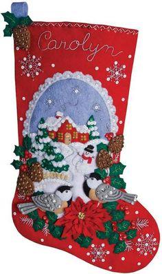 Chickadees Christmas Stocking - Felt Applique Kit