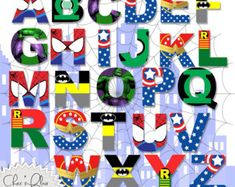 SUPERHERO ALPHABET LETTERS - Superhero Digital Letters, 8.5x11, 300dpi High Resolution png File - Instant Download