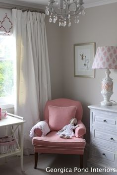 Hamptons Style Home Tour. Love the chair Wall Colors, House Colors, Paint Colours, Dulux Polished Pebble, Hamptons Style Homes, Girls Bedroom, Bedroom Ideas, Master Bedroom, Colorful Interiors