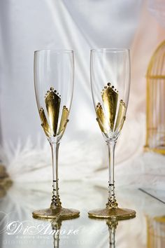 Gold Gatsby Style wedding Champagne Flutes/ Gold  от DiAmoreDS