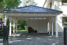 A hipped roof carport offers more security in case of unfavorable . A hipped roof carport offers more safety in adverse weather conditions. Carport Plans, Carport Garage, Pergola Carport, Shed Plans, Detached Garage, Cheap Pergola, Carport Sheds, Outdoor Pergola, Pergola Lighting