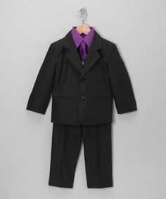Another great find on #zulily! Black & Purple Five-Piece Suit Set - Infant, Toddler & Boys #zulilyfinds