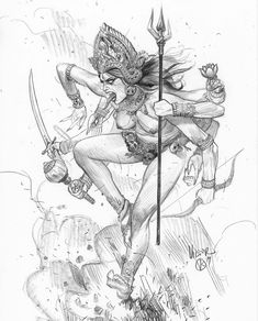 Character Sketches, Character Design References, Art Sketches, Art Drawings, Drawing Art, Pencil Drawings, Kali Goddess, Goddess Art, Indian Goddess