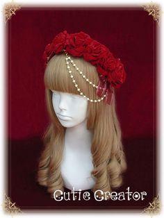 cutie-creator-persephone-s-shadow-beadchain-rose-headbow-cic-80 - My Lolita Dress