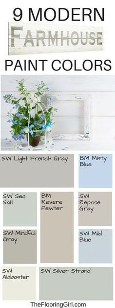 Best shades of paint for a modern farmhouse style. Bauernhaus Dekor Farmhouse style paint colors and decor Interior Paint Colors, Paint Colors For Home, Paint Decor, Furniture Paint Colors, Small Bedroom Paint Colors, Fixer Upper Paint Colors, Basement Paint Colors, Calming Bedroom Colors, Calming Paint Colors
