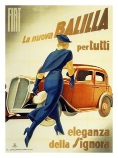 AP1575 - Fiat Cars, Artist: Marcello Dudovich, Italy 1930s (30x40cm Art Print)