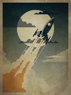 Night Launch ~ Art by Danny Haas; I want this so bad for my office. :)
