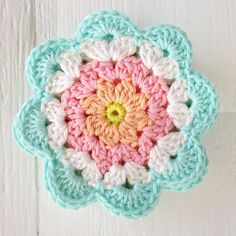 Crochet Coasters Set Flower Coasters Pastel by ColornCream on Etsy