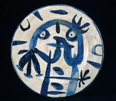 "Miro Plat émail blanc et bleu (Plate with Blue and White Glaze)    1956  Earthenware  37 x 37 cm / 14 3⁄5 x 14 3⁄5""     Signed on the back: Miró / ARTIGAS.  Undated."