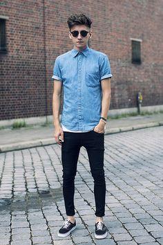 Denim Shirt, Black denim jeans, Black penny loafers #Throwback