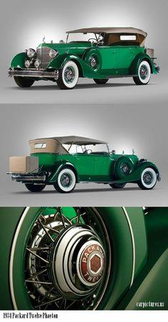 A great automobile, 1934 Packard Twelve Phaeton - stunning shade of green. Auto Retro, Retro Cars, Vintage Cars, Antique Cars, My Dream Car, Dream Cars, Mercedes S320, Bmw Classic Cars, Amazing Cars