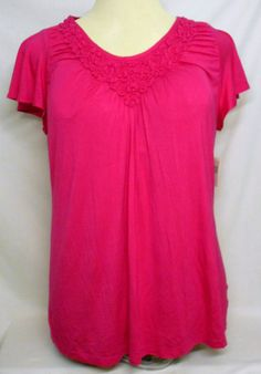 Just My Size V-Neck Tunic Womens Size 1X (16W) Pink NWT #JustMySize #Tunic #Casual