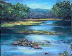 'River in Spring' original acrylic painting on canvas by Diane Caswell Christian Ebay Paintings, Acrylic Painting Canvas, Landscape Paintings, Auction, Christian, River, The Originals, Spring, Artist