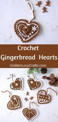 Crochet Gingerbread Heart Ornaments Make these beautiful crochet Gi. : Crochet Gingerbread Heart Ornaments Make these beautiful crochet Gingerbread Heart ornaments to decorate your home and Christmas tree or give them to friends and family! Crochet Christmas Decorations, Gingerbread Decorations, Crochet Christmas Ornaments, Crochet Decoration, Holiday Crochet, Noel Christmas, Christmas Knitting, Christmas Hearts, Free Christmas Crochet Patterns