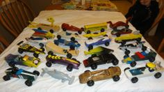 #cubcontest Pinewood Derby fleet of our family!! Lots of winners from Chelmsford Pack 45. This is the fleet until 2012....six more cars from '13 and '14 brings the total to 30!