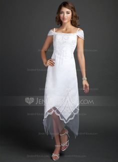 Wedding Dresses - $142.99 - A-Line/Princess Off-the-Shoulder Tea-Length Satin Tulle Wedding Dress With Beading (002015354) http://jenjenhouse.com/A-Line-Princess-Off-The-Shoulder-Tea-Length-Satin-Tulle-Wedding-Dress-With-Beading-002015354-g15354?pos=your_recent_history_2