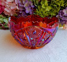 Beautiful Vintage Indiana Carnival Glass Center Bowl ~ Heirloom ~ Red Sunset #IndianaCarnivalGlass