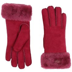 UGG Classic Turn Cuff Glove (Lonely Hearts) Extreme Cold Weather... (€130) ❤ liked on Polyvore featuring accessories, gloves, cold weather gloves, opera gloves, elbow length gloves, long leather gloves and long gloves