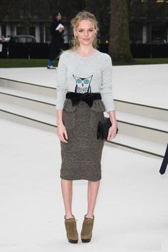 I love EVERYTHING she has on ... the owl sweater, skirt and (OMG) the shoes - to die for!!
