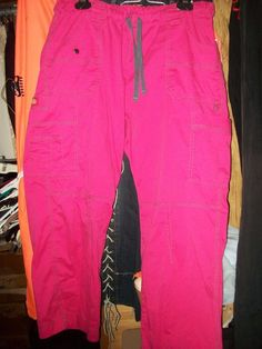 XL P Dickie Pink Stretch Cargo Uniform Nursing Pants W34-22 L28 #Dickies #Pants