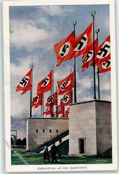 8500 Nürnberg Reichsparteitag Propaganda WK II Fahnentürme Zeppelinfeld: Ansichtskarten-Center Onlineshop
