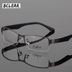 BCLEAR New Arrival Large Face Men Eyeglasses Myopia Presbyopia Half Rim Wide Glasses Frame Big Optical Eyewear Alloy Frames Half Rim Glasses, Eye Glasses, Mens Glasses Frames, Eyeglass Frames For Men, Optical Eyewear, Men Eyeglasses, Face Men, Optical Frames, Prescription Lenses