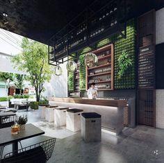 Green wall at bar