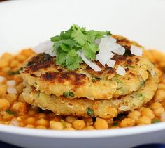 Potato Quinoa Patties with Chickpea curry. Tikki Chole. Vegan Recipe - Vegan Richa