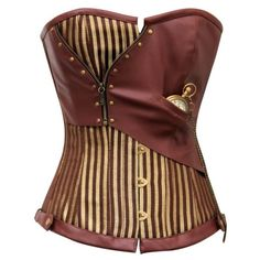 CD-468 Brown and Gold Striped Overbust Corset with Pocket Watch ❤ liked on Polyvore featuring corset, tops, steampunk and shirts