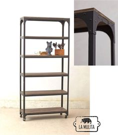 Biblioteca de hierro y madera Ladder Bookcase, Pallets, Feels, Shelves, Home Decor, Style, Houses, Handmade Home Decor, Libraries