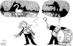 """Quino, a rad cartoonist so my dad had a comic by Quino. I'd see this all the time. The artist, """"Joaquín Salvador Lavado"""" (aka Quino) is from Argentina. Music Humor, Humor Grafico, A Comics, Classical Music, Music Stuff, Music Bands, Music Is Life, Comic Strips, The Funny"""