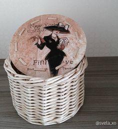Gft for wife Wicker Storagebox Vintage Round Wicker Basket