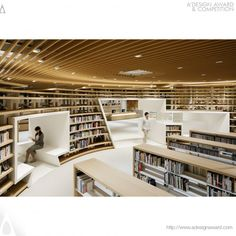 A' Design Award and Competition - Images of Kikuchi City Central Library by Kazunobu Nakamura Architecture Design, Library Architecture, Cultural Architecture, Education Architecture, Green Architecture, Architecture Models, Public Library Design, Bookstore Design, Modern Library