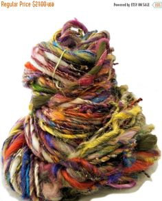 "Thank You SALE scrap yarn, bulky, thick and thin, super texture, mixed fiber Handspun , MTO, ""Kaleidescope"""