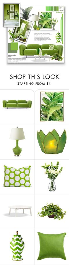 """""""Greenery: Pantone Colour Of 2017"""" by signaturenails-dstanley ❤ liked on Polyvore featuring interior, interiors, interior design, home, home decor, interior decorating, Moooi, Barclay Butera, Bungalow 5 and Cultural Intrigue"""