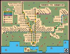Dave created a quite fab Super Mario map for the Toronto subway system. Delighted with the popular interest in the design, he's offered it for sale as a poster. Toronto TTC Subway/RT Map – Super Mario 3 Style (Thanks, Fipi Lele! Ontario, Toronto Subway, Video Game Artist, System Map, Super Mario Art, Metro Map, Subway Map, North York, 8 Bit