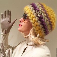 Купить Шапка вязаная Подсолнух, вязанная из кид-мохера, женская, теплая. - шапка, шапка вязанная