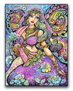 India Fairy Fantasy Art  Laneenia Art Print Mounted by evitaworks, $34.00