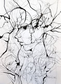 A Web of Abstract Drawings by Boicu Marinela - Boicu Marinela illustration drawing erotic portrait - Abstract Drawings, Ink Drawings, Drawing Faces, Street Art, Illusion Art, Wow Art, Art Plastique, Painting & Drawing, Amazing Art