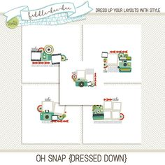 Oh Snap {Dressed Down} templates feature paper pieced cameras and fun polaroids and film spots for documenting every photographic adventure you embark on!   This personal use/S4H template includes five (5) layered 12x12 templates in both .psd and .tif files all at 300 dpi. Drop shadow...