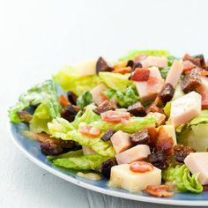 What's an ingredient you have to have on your salads? Figs add sweetness to bacon salad recipes that might exist, chopped salad with smoked turkey, bacon, and mission figs is one of our most popular salads. Onion Recipes, Turkey Recipes, Salad Recipes, Fig Salad, Cobb Salad, Dried Fig Recipes, Turkey Chops, Smoked Turkey, Turkey Bacon