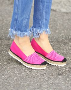 Hot Pink Embroidered Platform Espadrilles, Made in Spain: Flats from Atelier Costa