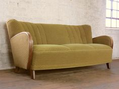 Art Deco Retro 3 Seater Club Sofa Daybed Chaise Bed Couch Vintage 30s 40s