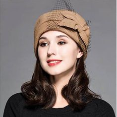 8485290b8ab2b Fashion bow wool beret hat with veil for women winter pillbox hat