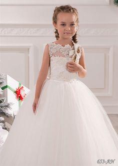 Ivory de encaje vestido de niña de las flores por KingdomBoutiqueUA