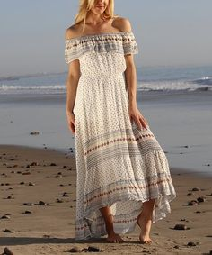 Loving this Beige Abstract Semi-Sheer Off-Shoulder Maxi Dress on #zulily! #zulilyfinds